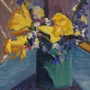 "Deirdre O' Donnell, ""Turquoise Jar with Daffodils"" Acrylic on Board, 8 x 8 inches"