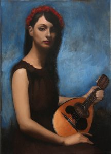 "Brian Smyth, ""Girl with Mandolin"" Oil on Canvas"