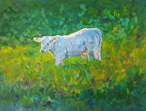 "Fiona Power, ""Young Bull in the field"" Acrylic"