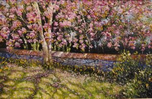"Mark Eldred, ""Cherry Blossom, Killarney"" Oil on Board"