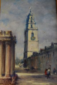 "Thomas Ryan, ""Shandon Chruch Tower"" Oil on Canvas Board"