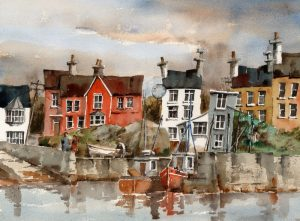 "Val Byrne, ""Glandore Harbour"" Watercolour"