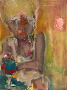 "Joseph Keating ""Shirley"" 12 x 18, oil, oil pastel, charcoal on canvas"