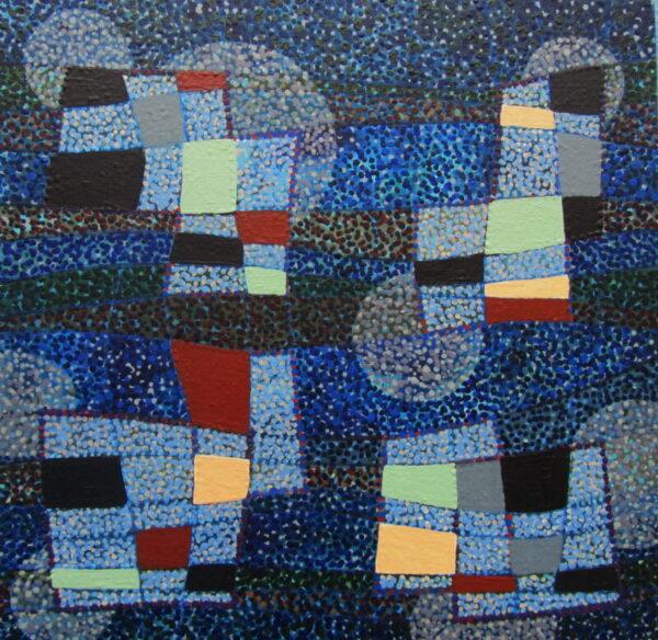 Tim Goulding Blue Rondo, acrylic on board, 30 x 30 cms, 1,600