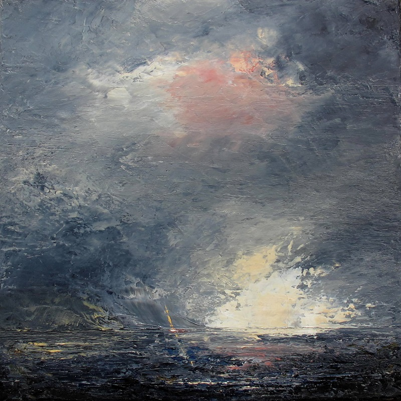 Dee Pieters, Light after storm, oil 25 X 25cm