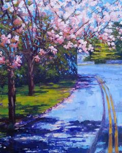 Dorothy O Riordan, Blackrock Blossoms, oil on board
