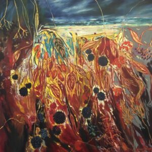 An oil painting with blackberries in the foreground. The background is an abstract landscape. The painting uses many reds and yellows, and blues.