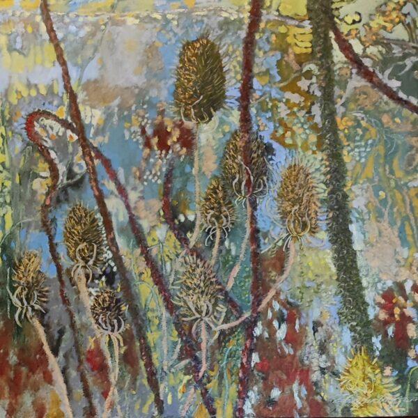 Eadaoin Harding Kemp, Teasel Tapestry, Oil on Gesso Board, €1200, 59 x 59 cm 2021