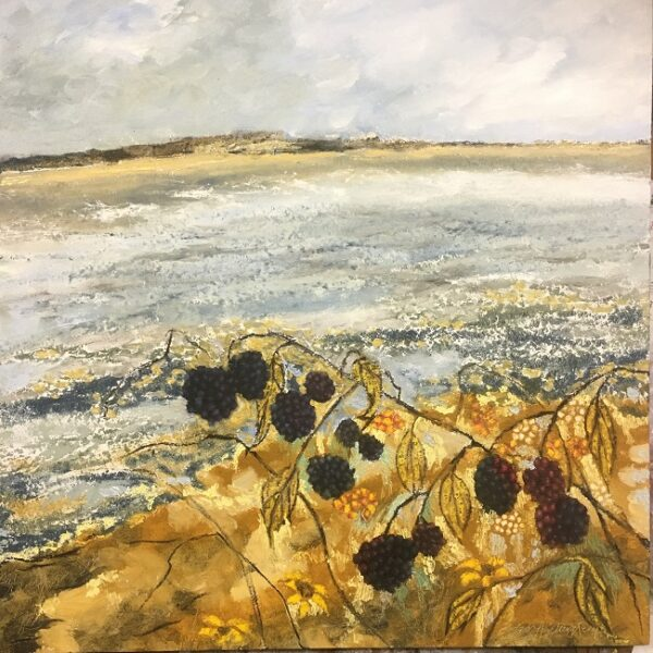 An oil painting with blackberries in the foreground and the sea in the background. The painting is by Cork artist Eadaoin Harding Kemp