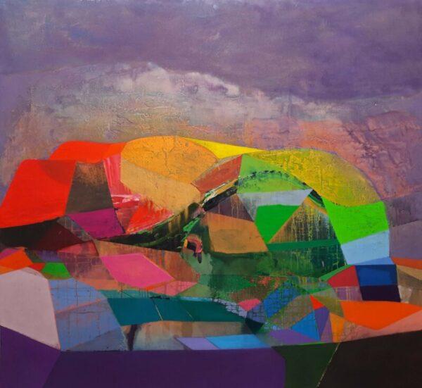 Tom Climent A Fertile Land Oil, plaster & sand on canvas, 198x184cm, €14,000 2021