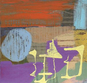 """Elizabeth Charleson, """"Remains of the Day"""" Acrylic on board 33.5x35.5 cms"""